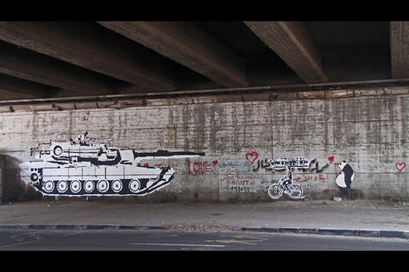 CounterCurrent19 - Ganzeer, Tank vs. Bread-Man, 2011. Paint on Wall. Photo: Mehri Khalil. Courtesy the artist.